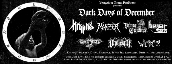 Dhishti to perform at 'Dark Days of December' in Bangalore, December 2014